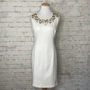 Calvin Klein   White Beaded Sheath Dress